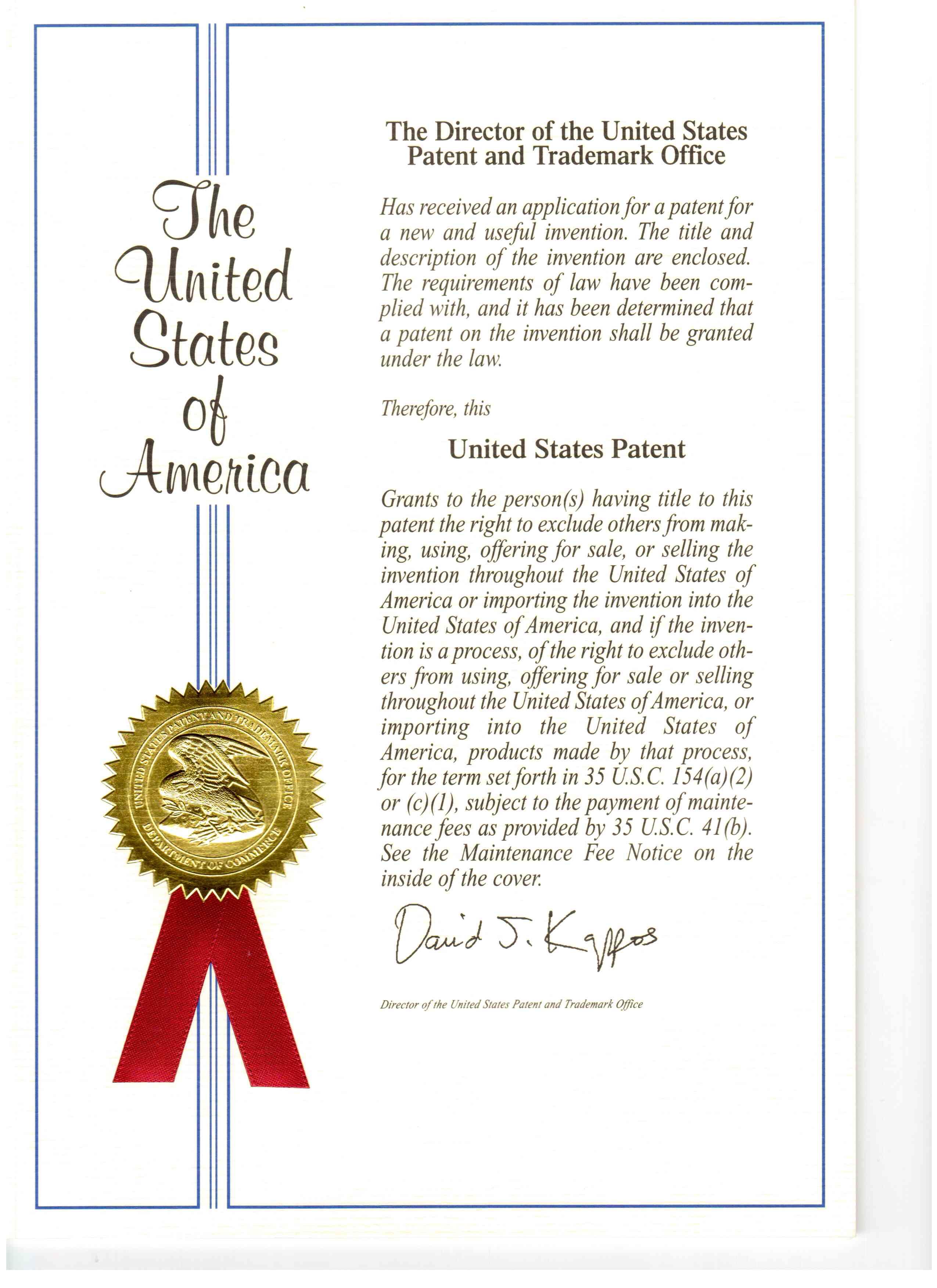 미국 특허증
